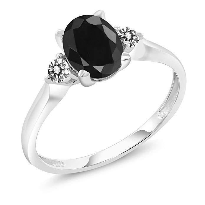 14K White Gold 1.79 Ct Black Sapphire White Diamond 3-Stone Ring (Available 5,6,7,8,9)