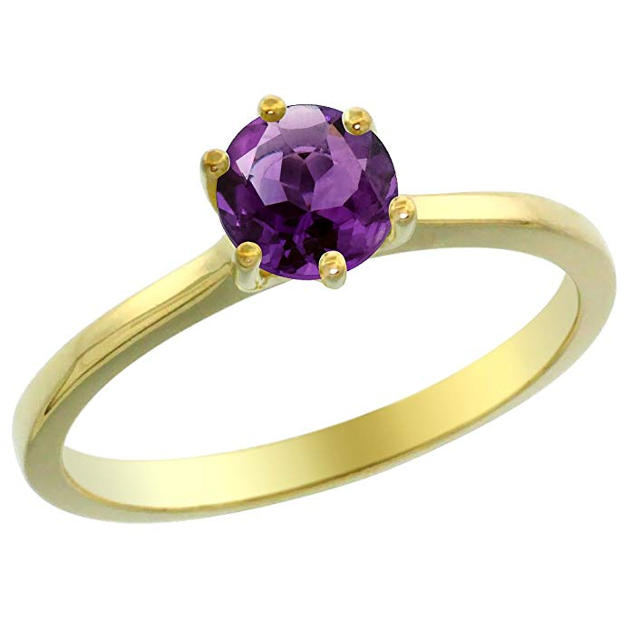 14K Yellow Gold Natural Amethyst Solitaire Ring Round 6mm, sizes 5 - 10