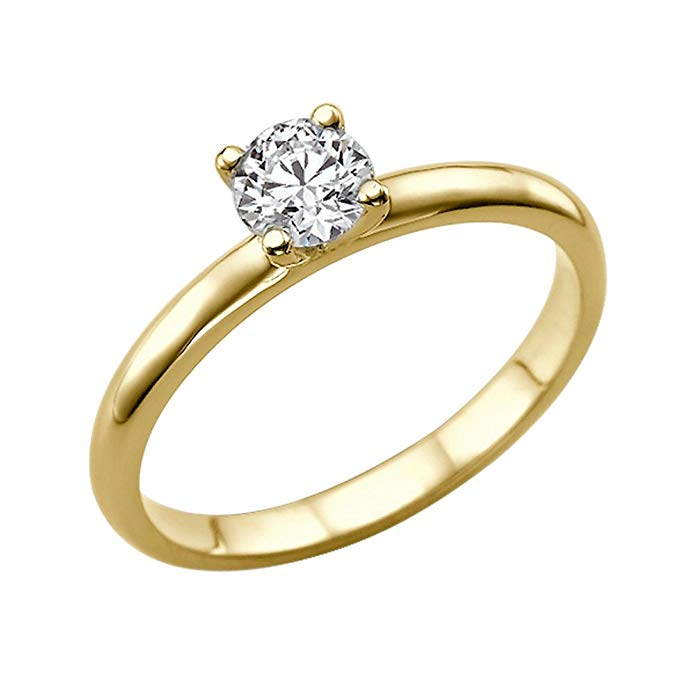 0.50ct Lab Created White Sapphire Engagement Ring 14K Solid Gold Classic Round