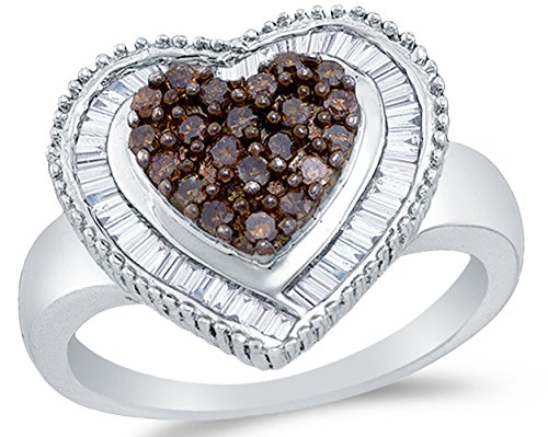 Sonia Jewels 925 Sterling Silver Chocolate Brown & White Round & Baguette Diamond Engagement Ring - Channel Set Heart Center Setting Shape (.78 cttw.)