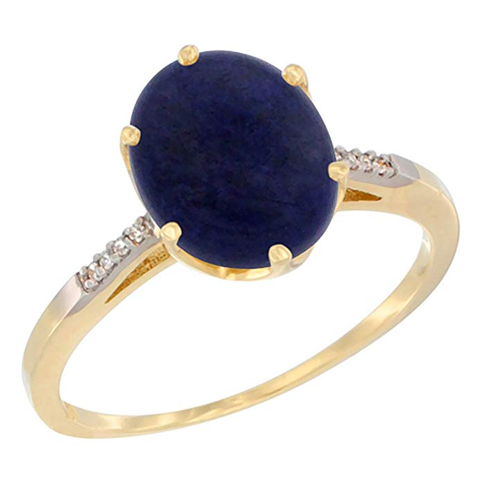 10K White Gold Natural Lapis Engagement Ring 10x8 mm Oval, sizes 5 - 10