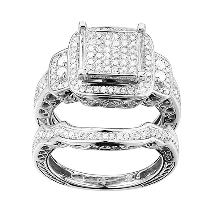 0.46 (ctw) Sterling Silver Round White Diamond Micro Pave Engagement Ring Set 1/2 CT