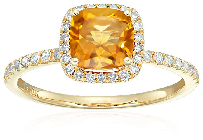 10k Yellow Gold Citrine and Diamond Cushion Halo Engagement Ring (1/4cttw, H-I Color, I1-I2 Clarity), Size 7
