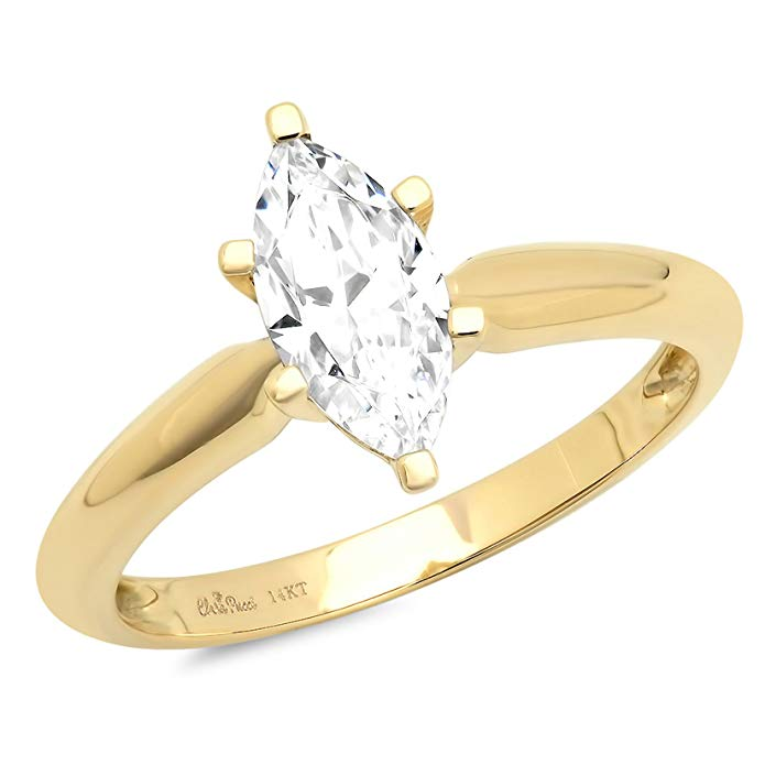 1.5ct Marquise Brilliant Cut Classic Solitaire Designer Wedding Bridal Statement Anniversary Engagement Promise Ring Solid 14k Yellow Gold
