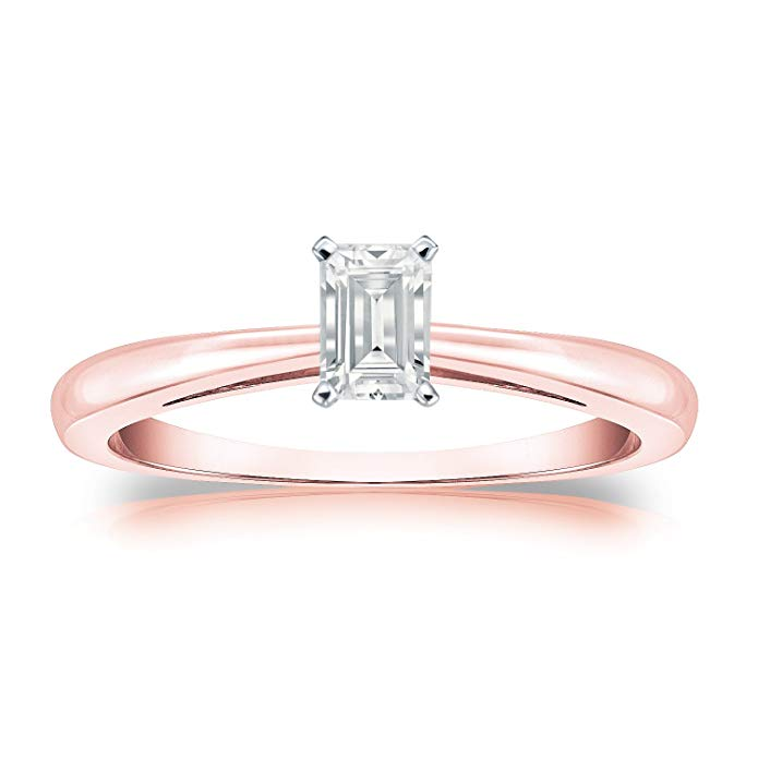 14k Rose Gold 4-Prong Emerald-cut Diamond Solitaire Ring (1/4-1 cttw, O.White, I1-I2) Size 4-9