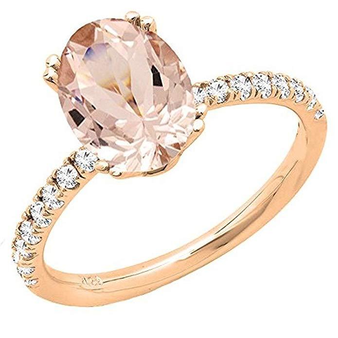 14K Rose Gold 8X6 MM Oval Gemstone & Round Diamond Bridal Engagement Ring