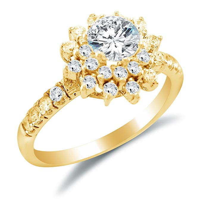 Size 6.5 - Solid 14k Yellow Gold Flower Shape Round Brilliant Cut Solitaire with Round Side Stones Highest Quality CZ Cubic Zirconia Engagement Ring 1.75ct.