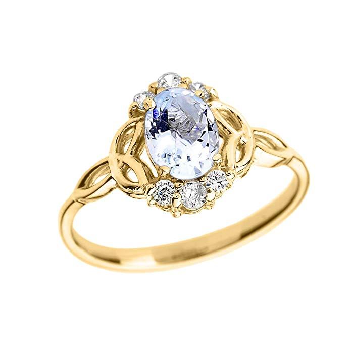 Aquamarine and Diamond 14k Yellow Gold Trinity Knot Proposal Ring