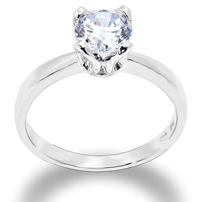 Ioka - 1 Ct. Round Solitaire Cubic Zirconia CZ Solid 14K Gold 2.5MM Engagement Ring