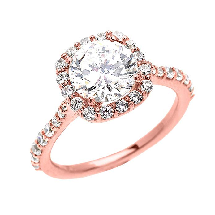 14k Rose Gold 3 Carat CZ Solitaire Halo Proposal Engagement Ring