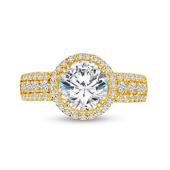 Solid 14k Yellow Gold Round Cut Big Large Wide Halo Solitaire Engagement Ring CZ Cubic Zirconia (4.0cttw, 2.50ct. Center)