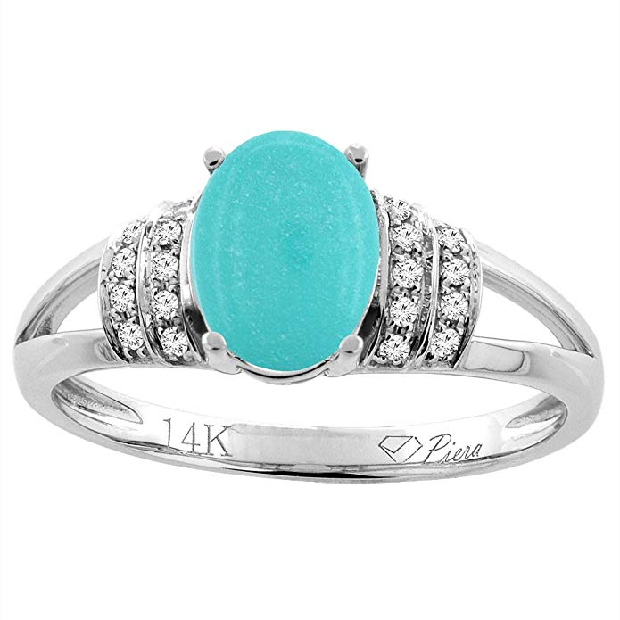 14K Gold Natural Turquoise Ring Oval 8x6 mm Diamond Accents, sizes 5 - 10