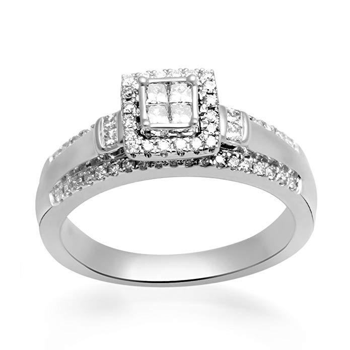 Jewelili 10KT White Gold Quad Princess and Round Diamond Engagement Ring, 1/2 Cttw, Size 8