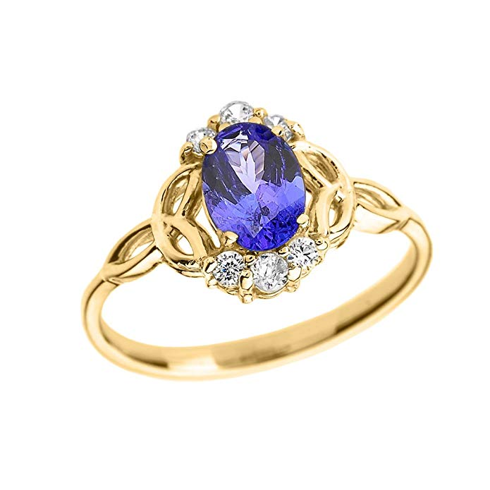 Tanzanite and Diamond 14k Yellow Gold Trinity Knot Proposal Ring