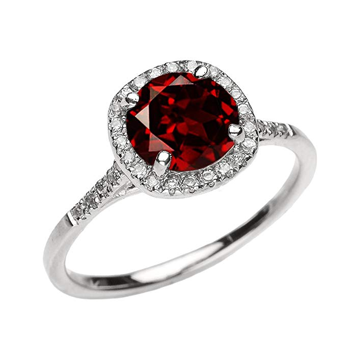 Dainty 14k White Gold Halo Diamond and Garnet Centerstone Engagement Proposal Ring