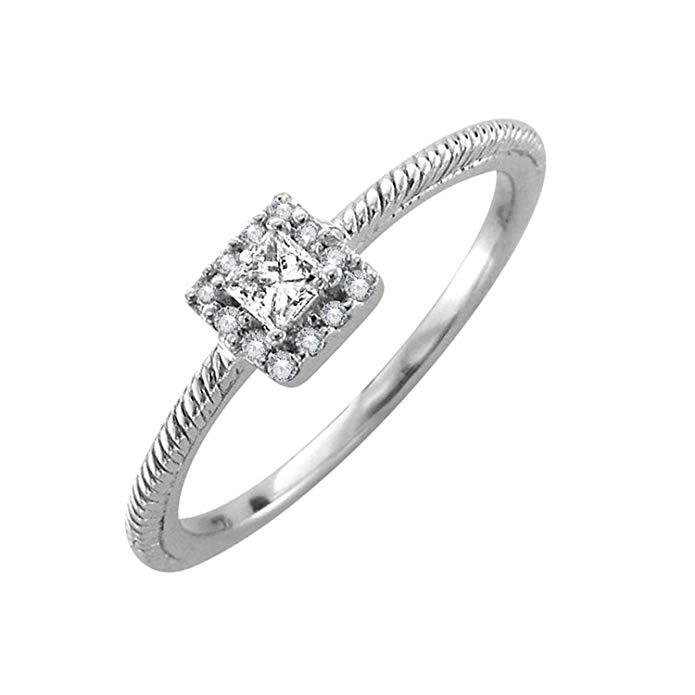 14k Gold Round & Princess Cut Diamond Engagement Ring Band (1/5 Carat) - IGI Certified