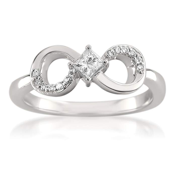 14k White Gold Princess-cut & Round Diamond Infinity Bow Engagement Ring (1/4 cttw, I-J, I2-I3)
