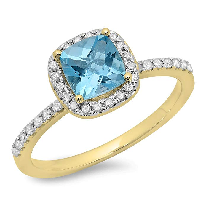 Dazzlingrock Collection 10K Gold Cushion Cut Blue Topaz & Round Cut White Diamond Halo Engagement Ring
