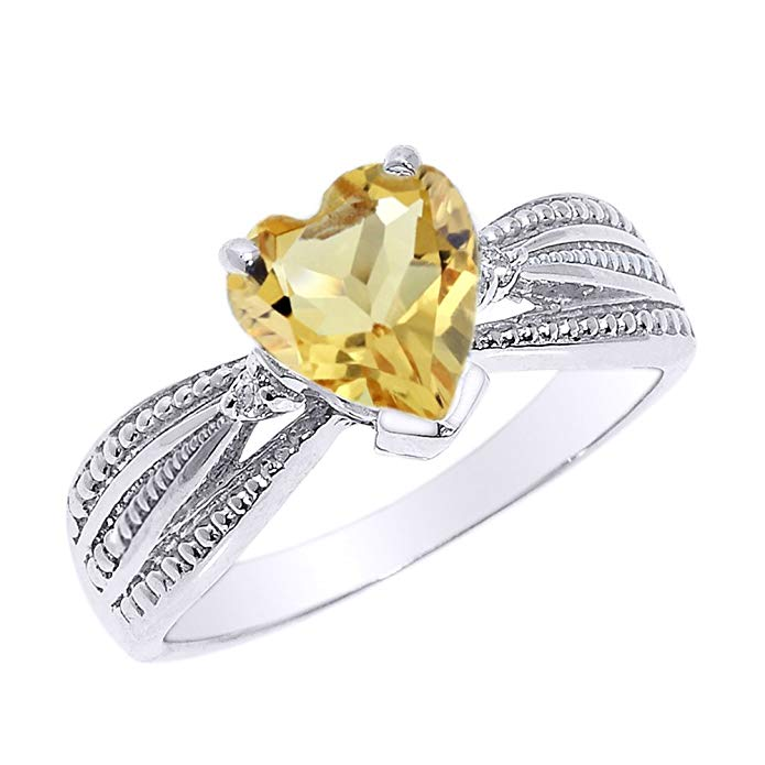Solid 10k White Gold Citrine and Diamond Proposal Ring