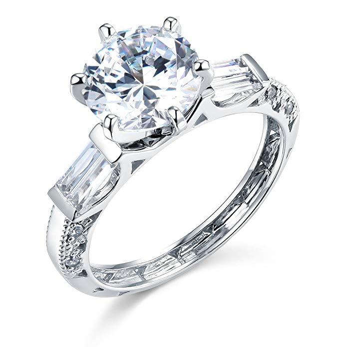 TWJC 14k White Gold SOLID Wedding Engagement Ring