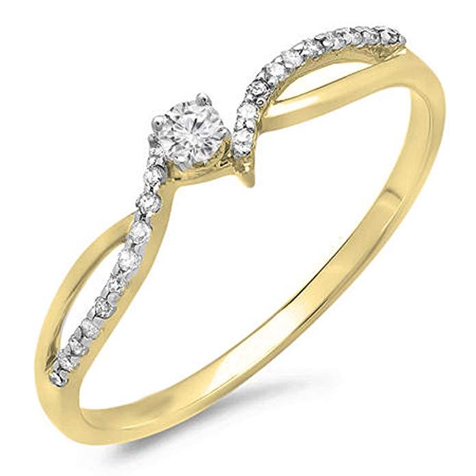0.15 Carat (ctw) 10K Gold Round Diamond Ladies Crossover Split Shank Bridal Promise Engagement Ring