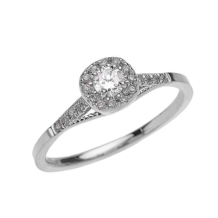 Dainty 14k White Gold Cushion Shape Halo Diamond Engagement Milgrain Design Ring