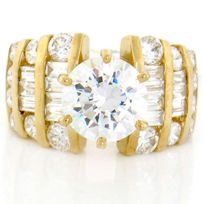 10k Solid Yellow Gold White CZ Engagement Ring Jewelry