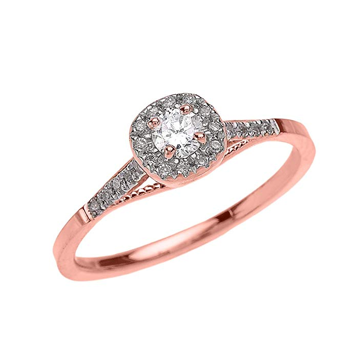 Dainty 14k Rose Gold Cushion Shape Halo Diamond Engagement Milgrain Design Ring