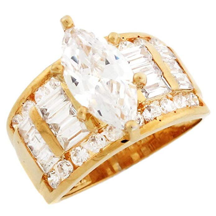 10k Yellow Gold Fancy 5 Row Marquise CZ Engagement Ring with Accents