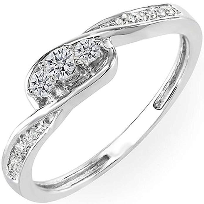 0.25 Carat (ctw) 10K Gold Round Diamond Ladies 3 Stone Engagement Promise Ring 1/4 CT