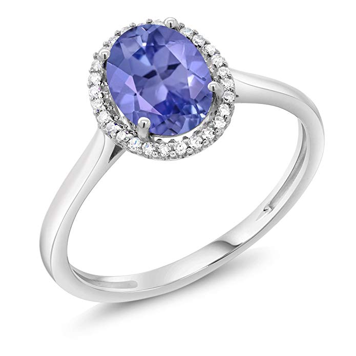 10K White Gold Blue Tanzanite and Diamond Halo Women's Engagement Ring 1.16 cttw (Available 5,6,7,8,9)