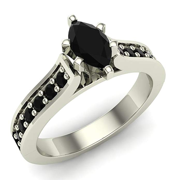Marquise Cut Black Diamond Engagement Ring for Women 3/4 Carat Total Weight (0.75 ct) 14K Gold Finish on Sterling