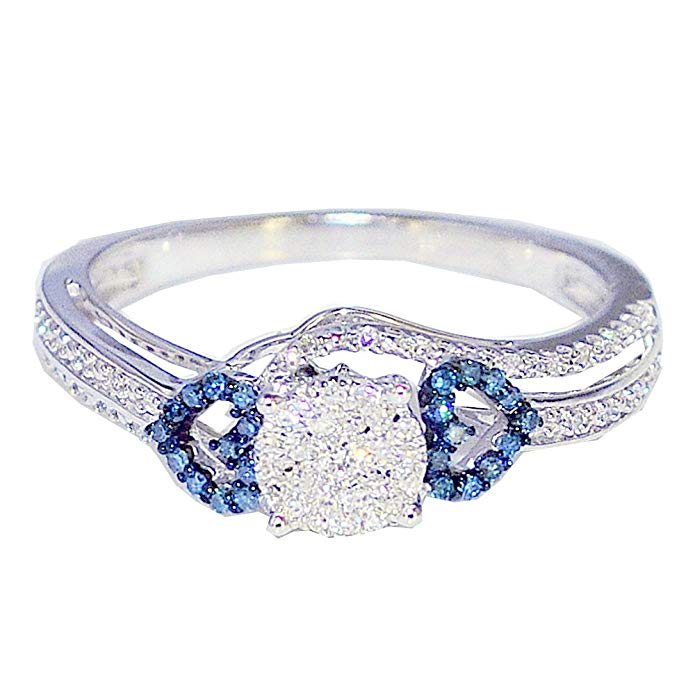 Midwest Jewellery Blue Diamond And White Diamond Engagement Ring 1/4cttw 10K White Gold With Hearts