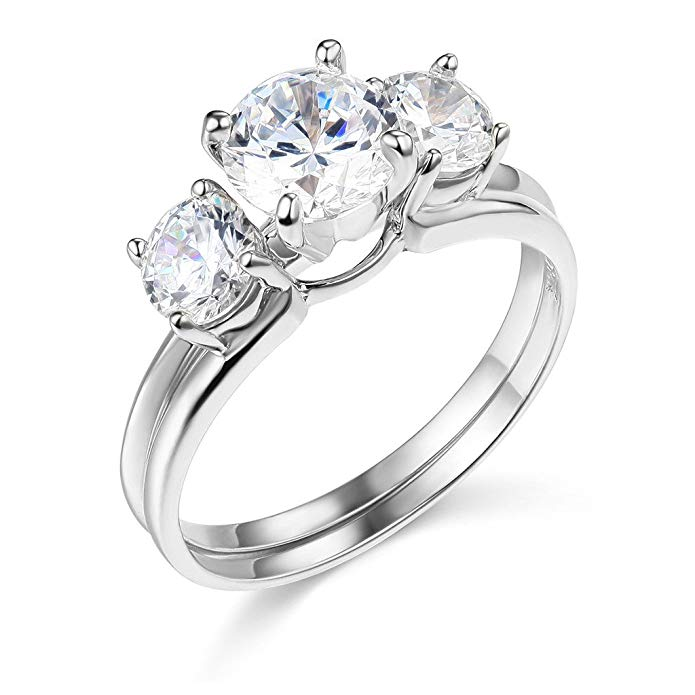 TWJC 14k Yellow OR White Gold SOLID Wedding Engagement Ring and Matching Band 2 Piece Sets