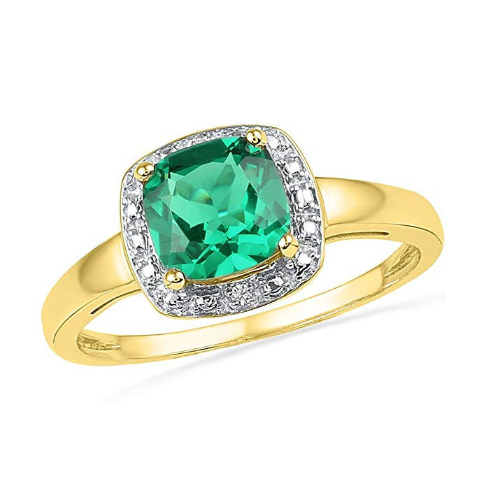 Solid 10k Yellow Gold Cushion Round Green Simulated Emerald And White Diamond Engagement Ring OR Fashion Band Prong Set Solitaire Shaped Halo Ring (.01 cttw)