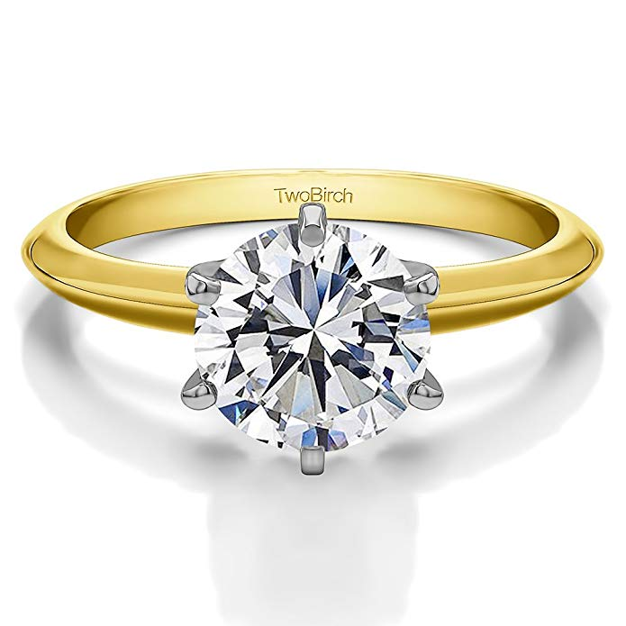 TwoBirch Round Traditional Style Solitaire With Cubic Zirconia In 14k White Gold(2twt)