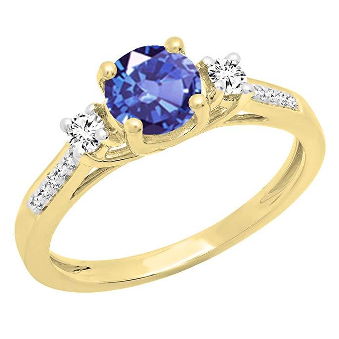 18K Yellow Gold 5 MM Round Gemstone & Diamond Ladies 3 Stone Engagement Ring