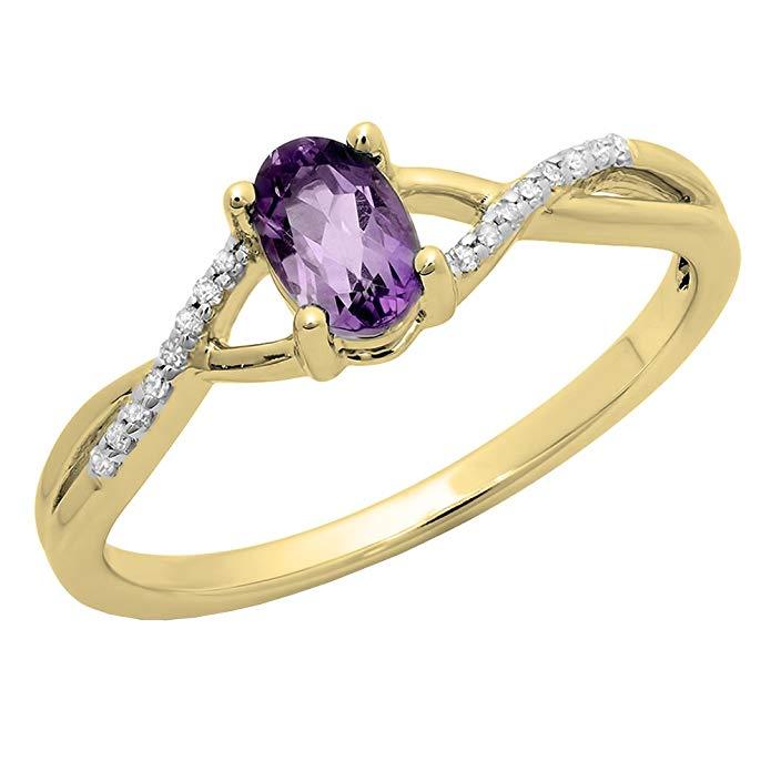 10K Yellow Gold 6X4 MM Gemstone & White Diamond Bridal Swirl Engagement Promise Ring
