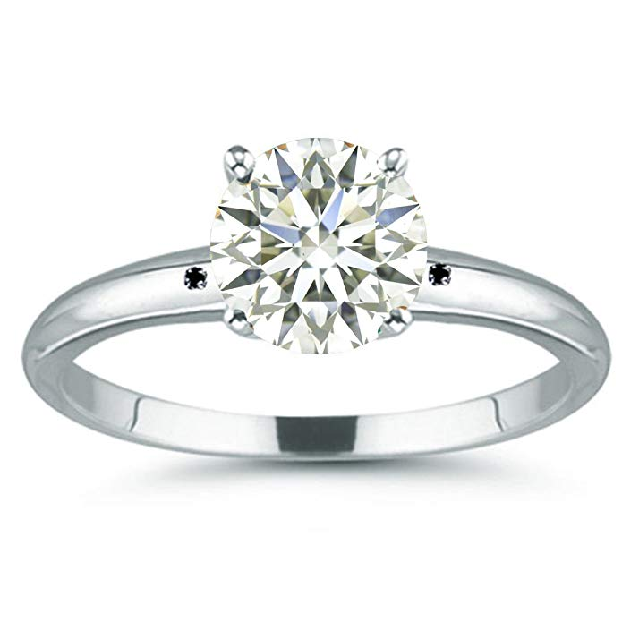 RINGJEWEL 7.65 ct VVS1 Round Moissanite Solitaire Silver Plated Engagement Ring Off White Color Size 7