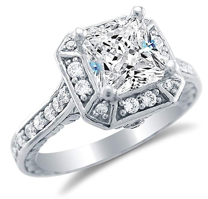Solid 14k White Gold Princess Cut Solitaire with Round Side Stones Highest Quality CZ Cubic Zirconia Engagement Ring 2.0ct.