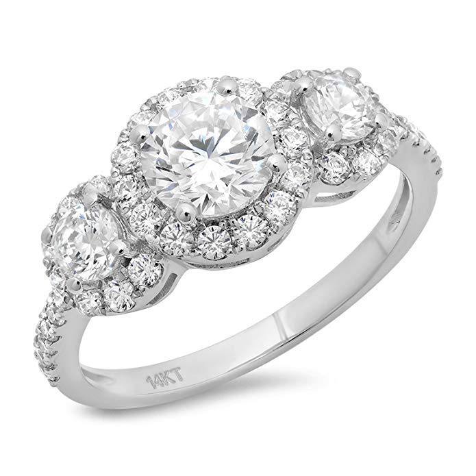1.9 Ct Round Cut Solitaire Engagement Promise Anniversary Pave Halo Bridal Band Ring 14K White Gold, Clara Pucci
