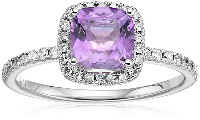 10k Gold and Diamond Cushion Halo Engagement Ring (1/4cttw, H-I Color, I1-I2 Clarity), Size 7