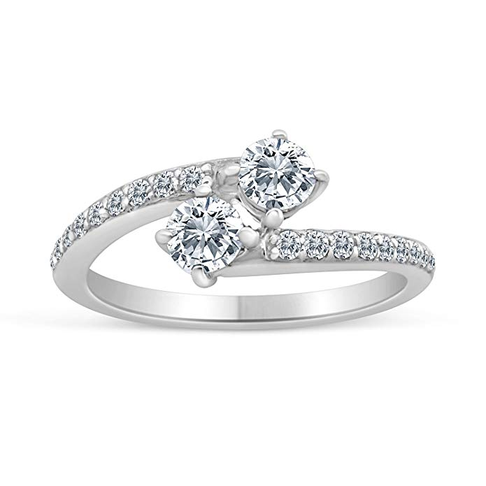 5/8ctw Diamond Two Stone Engagement Ring in 10k White Gold