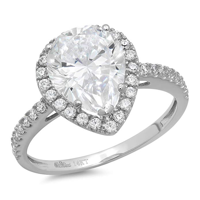 2.45ct Pear Cut Simulated Diamond CZ Halo Solitaire Wedding Engagement Ring Bridal band 14k White Gold