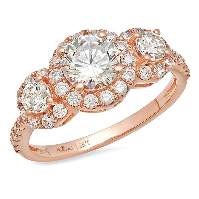 1.80 CT Designer Round Cut CZ Modern Pave Halo Solitaire Ring Band 14k Solid Rose Gold