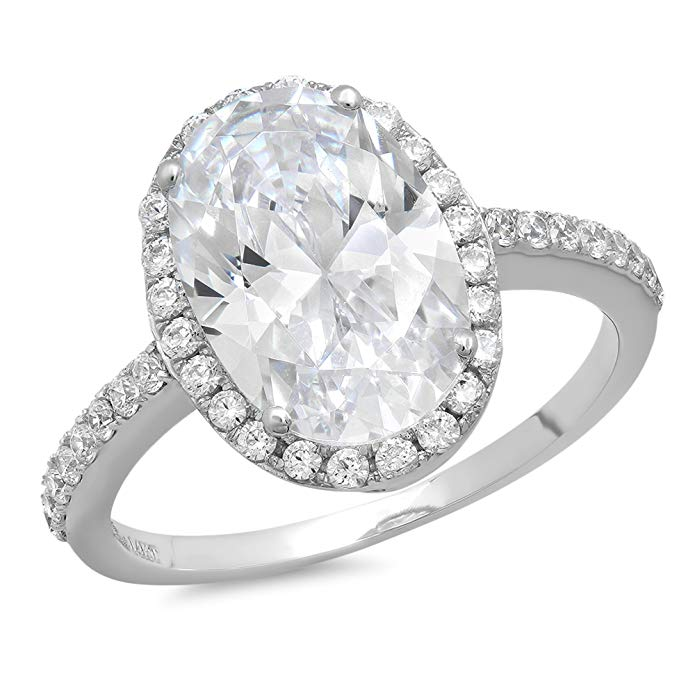 3.58 CT Oval Cut CZ Halo Solitaire Designer Classic Ring band Solid 14k White Gold