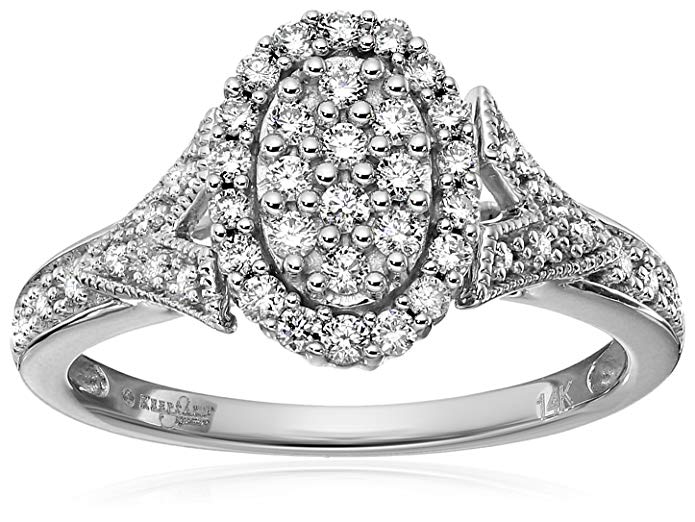 Keepsake Signature 14k White Gold Diamond Oval Cluster Engagement Ring (3/8cttw, H-I Color, I1 Clarity)